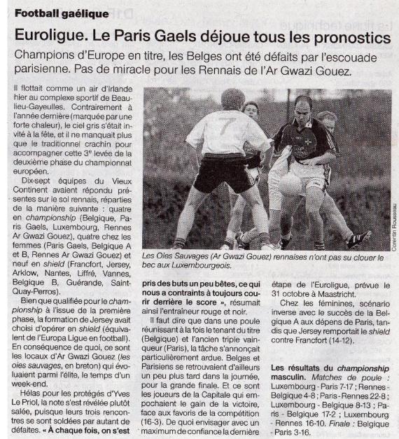 04 Octobre 2009 Article Ouest France