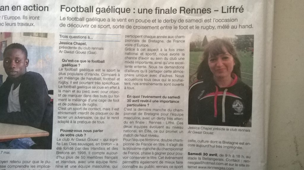 26 avril 2016 Article Ouest France