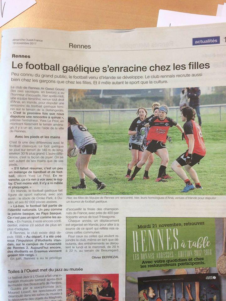 19 Novembre 2017 Article Ouest France