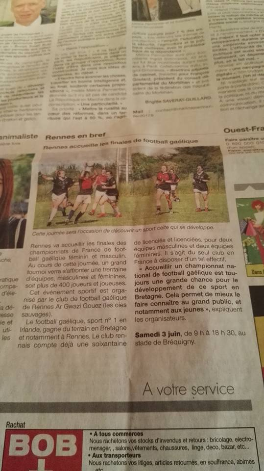 01 Juin 2017 Article Ouest France