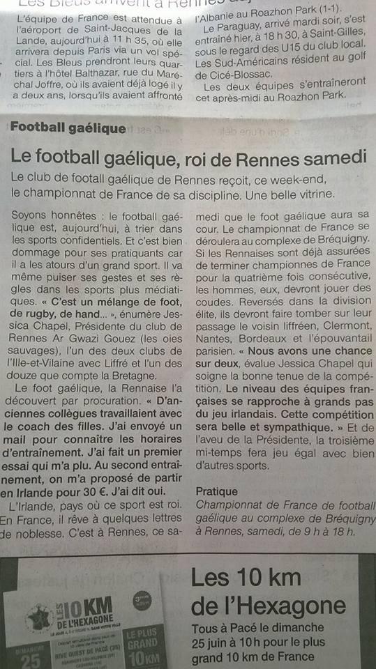 02 juin 2017 Article Ouest France